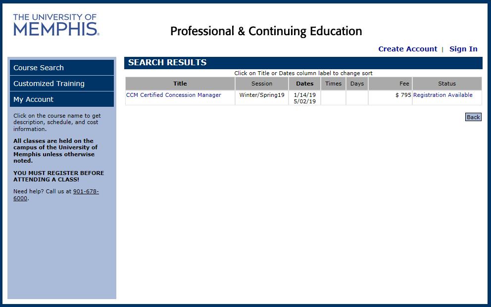 On-Line Concession Certification Management (CCM) Course